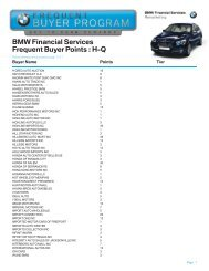 BMW Financial Services Frequent Buyer Points - Manheim Consignor