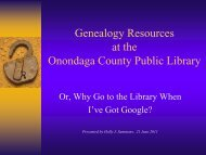 Genealogy Resources at the Onondaga County Public Library