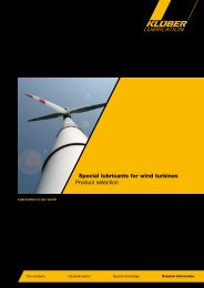 Special lubricants for wind turbines Product selection