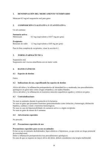 Metacam; INN: Meloxicam - ProxFarma BIE