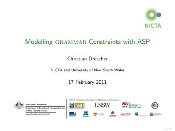 Modelling grammar Constraints with ASP - centria