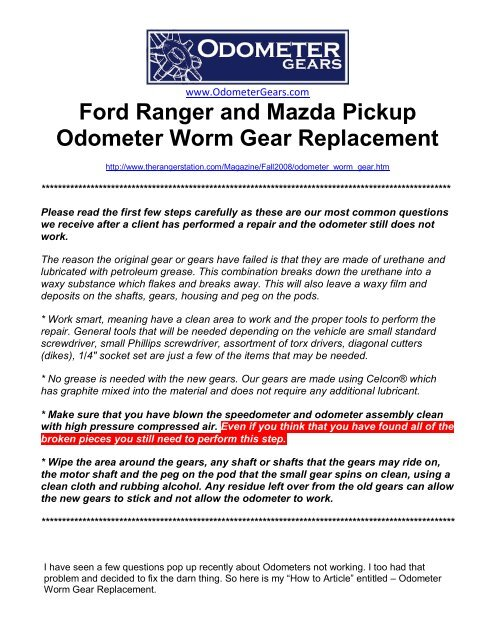 Ford Ranger and Mazda Pickup Odometer Worm     - Odometer Gears