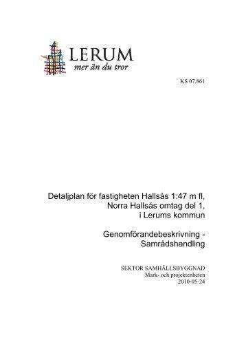 Detaljplan för fastigheten Hallsås 1:47 m fl, Norra ... - Lerums Kommun