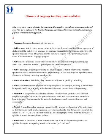 Terms & Definitions Glossary