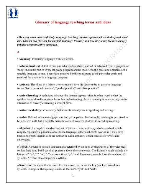 Glossary of Language Teaching Terms and Ideas pdf
