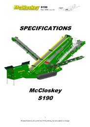 SPECIFICATIONS McCloskey S190 - Best Machinery Kft.