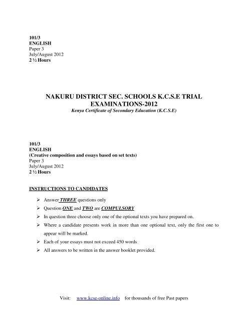 2012 nakuru district mock english q paper 3 pdf - KCSE Online