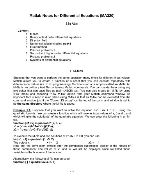 Matlab Notes for Differential Equations (MA320) Lia Vas