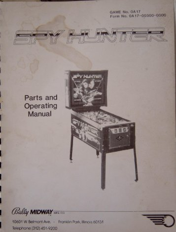 Bally Midway Spy Hunter Parts & Operating Manual