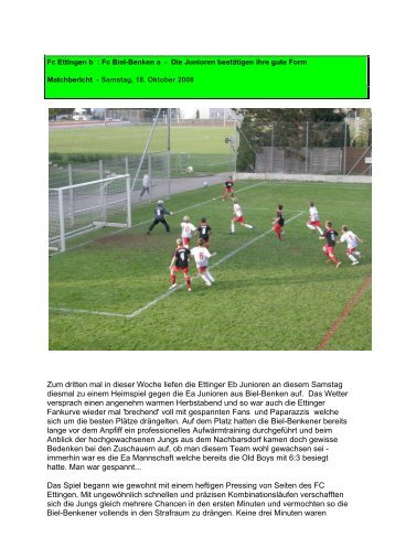 Zum dritten mal in dieser Woche liefen die Ettinger Eb ... - FC Ettingen