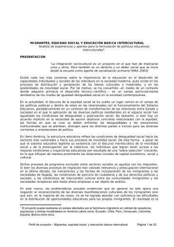 Migrantes, equidad social y educación básica intercultural - IIDH
