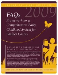 Framework for a Comprehensive Early Childhood System for ...
