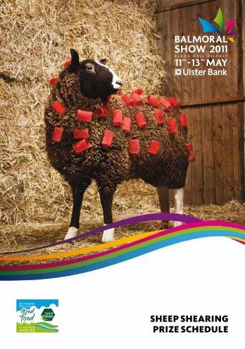 SHEEP SHEARING PRIZE SCHEDULE - Balmoral Show