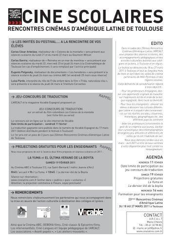 edito AGeNdA CONTACT - Cinélatino, Rencontres de Toulouse