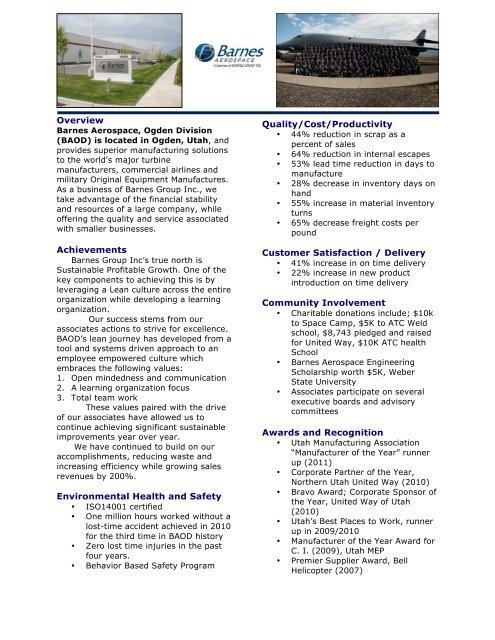 Overview Achievements Environmental Health     - The Shingo