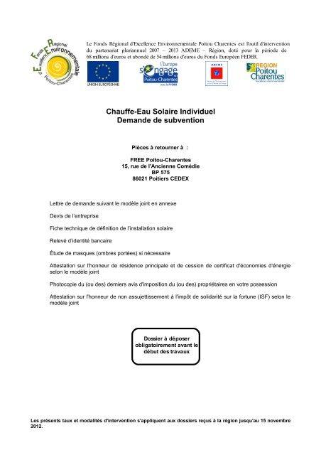 Formulaire Rãgion Poitou Charentes