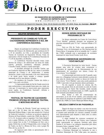 Segunda-feira - Prefeitura de Cachoeiro de Itapemirim