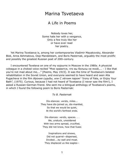 Marina Tsvetaeva Her Life In Poems Rolf Gross