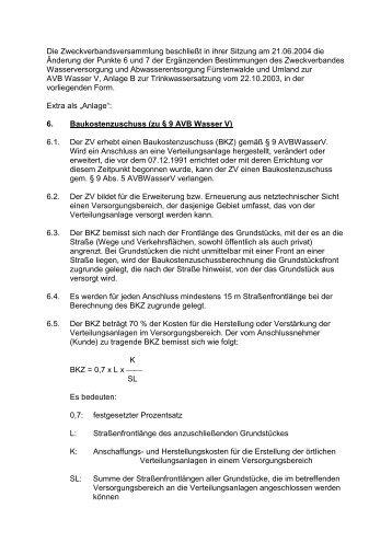 1. Änderung zur Anlage B - Zweckverbandes Wasserversorgung ...