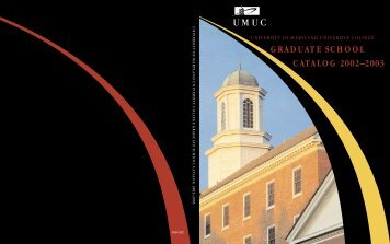 graduate school catalog 2002–2003 - University of Maryland ...
