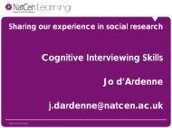 Conduct cognitive interviews - Wisdom