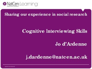 Conduct cognitive interviews - Wisdom