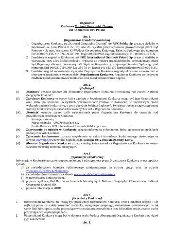 Organizator i Fundator Konkursu - UPC Polska