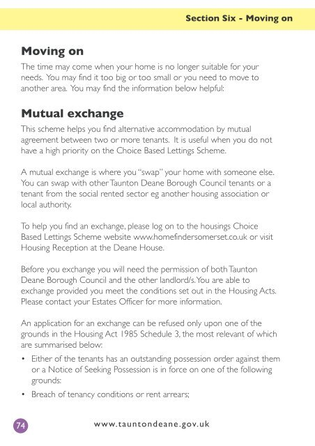 Moving On Mutual Exchange Taunton Deane Borough Council