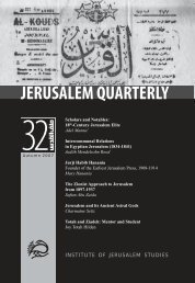 INSTITUTE OF JERUSALEM STUDIES - Jerusalem Quarterly