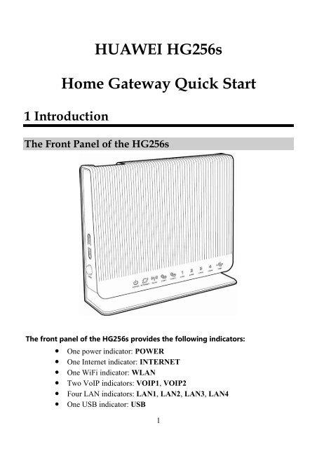 HUAWEI HG256s Home Gateway Quick Start 1 Introduction - StarHub