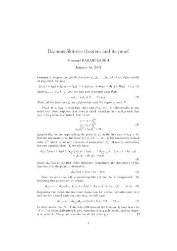 Darmois-Skitovic theorem and its proof