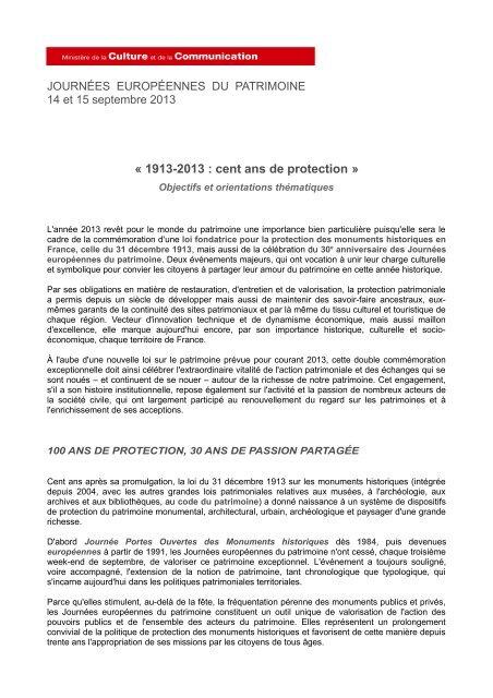 « 1913-2013 : cent ans de protection » - Ministère de la Culture et ...