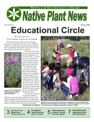 Winter 2008 - Native Plant Society of Saskatchewan