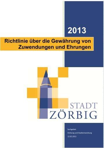 Richtlinie über die Gewährung von Zuwendungen und ... - Stadt Zörbig