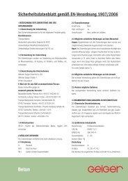 Sicherheitsdatenblatt gemäß EN-Verordnung 1907/2006 - Geiger