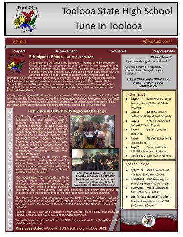 Newsletter 11 - 29th August 2013 - Toolooa State High School