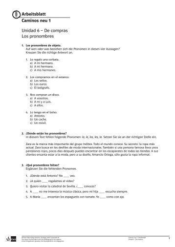 Arbeitsblatt Caminos neu 1 Unidad 6 – De compras Los pronombres