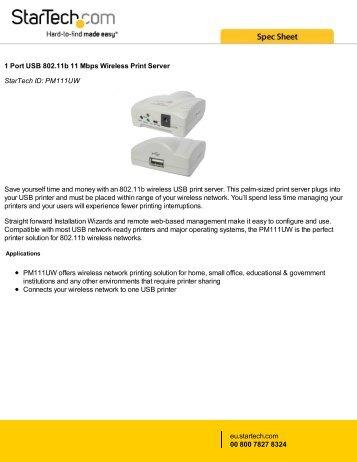 1 Port USB 802.11b 11 Mbps Wireless Print Server ... - StarTech.com