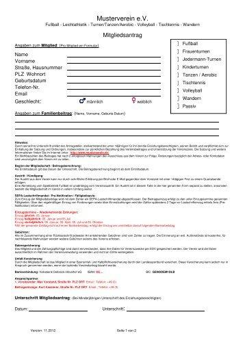 Musterformular: Aufnahmeantrag für einen Verein (pdf) - Volksbank ...