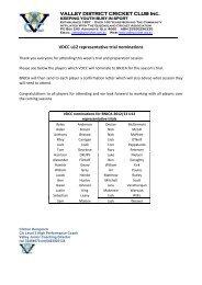 VALLEY DISTRICT CRICKET CLUB Inc. VDCC u12 representative ...