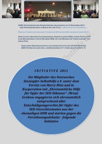 I N I T I A T I V E 2011 DIE Mitglieder des Netzwerkes Stasiopfer ...