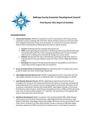 Economic Development's report on - Belknap County