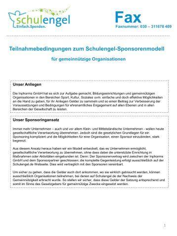 Teilnahmebedingungen zum Schulengel-Sponsorenmodell