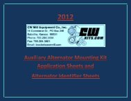 2012 Auxiliary Alternator Mounting Kit Application Sheets - CW ...