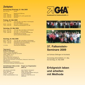 37. Falkenstein-Seminare 2009 - RAS Training und Beratung
