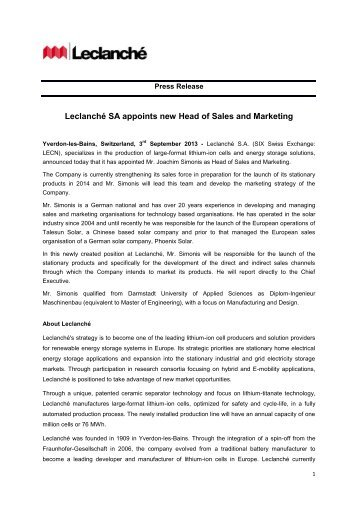 Leclanché SA appoints new Head of Sales and Marketing
