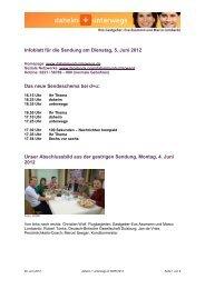 Infoblatt für die Sendung am Dienstag, 5. Juni 2012 Das neue ...