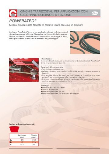 Cinghie trapezoidali Powerated - Tecnica Industriale S.r.l.