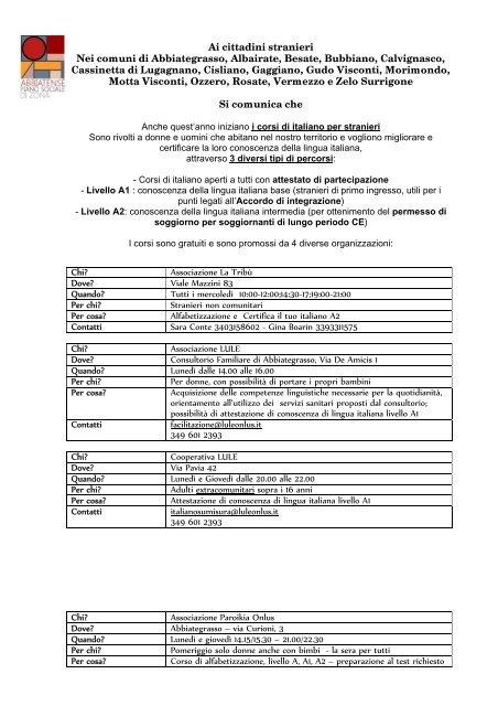 Corsi di italiano per stranieri gratuiti riservati ai ...