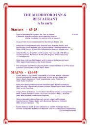 THE MUDDIFORD INN & RESTAURANT A la carte Starters - £5-25 ...